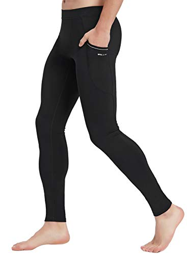 Willit Men's Active Yoga Leggings Pants Dance Running Tights with Pockets Cycling Workout Pants Quick Dry Black M