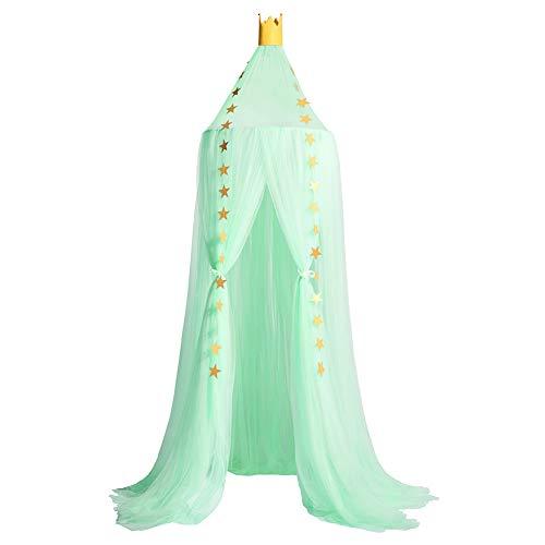 YXZN Księżniczka moskitiera z gwiazdami, namiot dziecięcy, baldachim tiulowy, zasłony do sypialni, domek do zabawy, do pokoju dziecięcego, jasnozielony