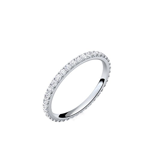Silber-Ring 925 Verlobungsringe Silber von AMOONIC mit Zirkonia Damen-Ring Memory-Ring Vorsteckring Stein Ehering Trauring dünn Memoire schlicht schmal (wie Diamant Weißgold) FF589SS925ZIFA