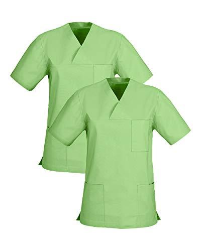 CLINIC DRESS Schlupfkasack im Doppelpack Unisex Kasacks Schlupfhemd für die Pflege oder Medizin in 100% Baumwolle 60 Grad Wäsche apfelgrün M