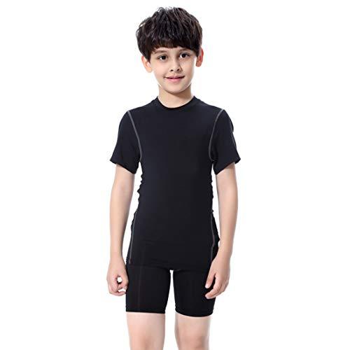 LANBAOSI Boy's Compression Shirts Pants Child's Short Sleeve Base Layer Set Black Set 7
