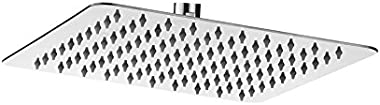 LOGGER - Ultra Slim Stainless Steel Shower Chrome Finished Head Square (8 X 8 Inches)