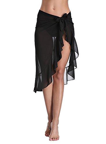 Cellicigal Donna Beach Sarong Holiday Cover Up Costume da bagno Wrap Chiffon Beachwear Pareo Estivo Spiaggia Vestito Gonna Nero Medium