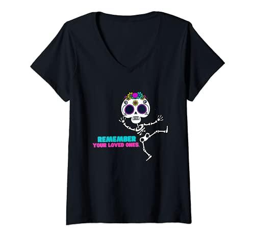 Mujer Day Of The Dead Dia De Los Muertos Calavera Camisa o almohada Camiseta Cuello V