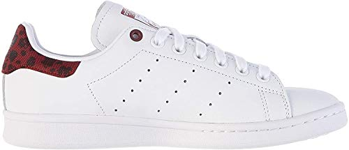 adidas Stan Smith W, Zapatillas de Gimnasia para Mujer, Blanco (FTWR White/Collegiate Burgundy/FTWR White FTWR White/Collegiate Burgundy/FTWR White), 38 2/3 EU