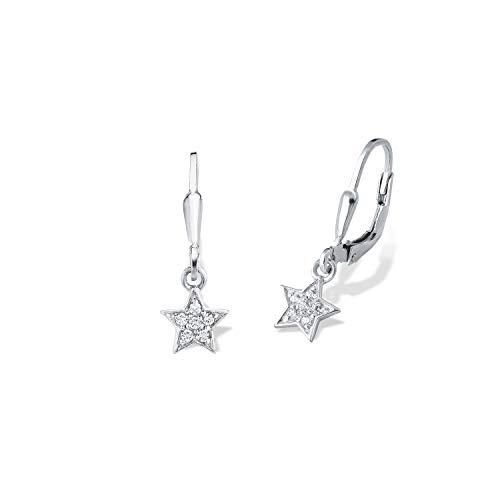 amor Ohrring für Mädchen Sterne 925 Sterling Silber Zirkonia weiß