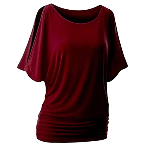 NC Camiseta de Mujer Verano Sexy Hombro Casual Suelta Manga Corta Camiseta de Mujer Wild Plus Tallas Grandes Ropa de Mujer Camiseta con Cuello en v