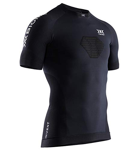X-Bionic Invent Run Speed SS M, Strato Base Camicia Funzionale Uomo, Opal Black/Artic White, L
