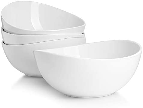 Sweese 104 401 Porcelain Bowls 42 Ounce for Salad Fruits and Popcorn Set of 4 White product image