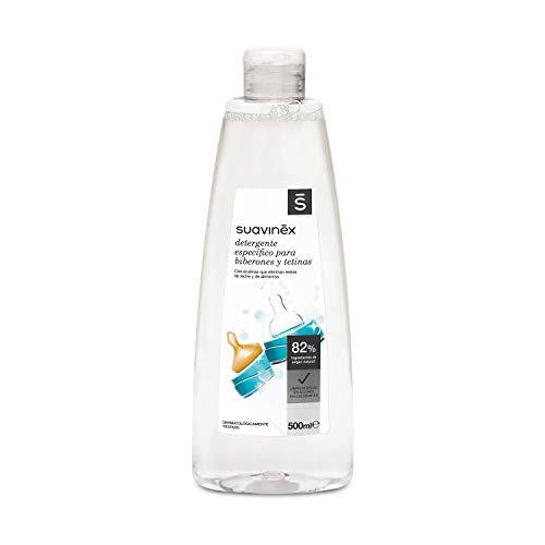 Suavinex Detergente para Biberones y Tetinas con 82% de Ingredientes de Origen Natural. sin Alcohol y sin Colorantes, 500 ml (Versión Española)