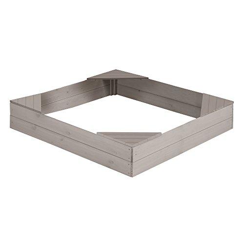 roba Sandkasten groß, Holzsandkasten aus wetterfestem Massivholz, grau lasiert