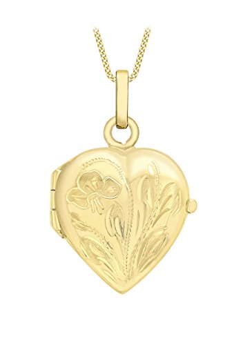 Carissima Gold 9ct Yellow Gold Heart Flower and Leaf Locket Pendant on Curb Chain Necklace of 46cm/18'