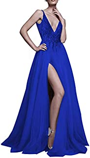 Prom Dresses Sexy Deep V Neck Sequins Beads Tulle and Lace High Split Long Evening Dresses Bridal Wedding Dress
