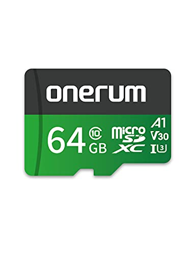 Scheda MicroSDXC da 64 GB, Scheda di Memoria Onerum MicroSD Flash TF con Adattatore - Fino a 100 MB/s, A1, U3, Class10, V30, Scheda TF ad Alta Velocità per Switch/GoPro/Telefono/Fotocamera/Drone