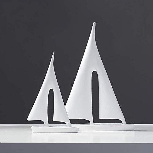 JJDSN Esculturas Simples Modernas Estatuas de Modelos de veleros, Figuras de Barcos de Resina, Decoracin de Escritorio para Sala de Estar Decoracin de Muebles para el hogar Adornos de Oficina Bl
