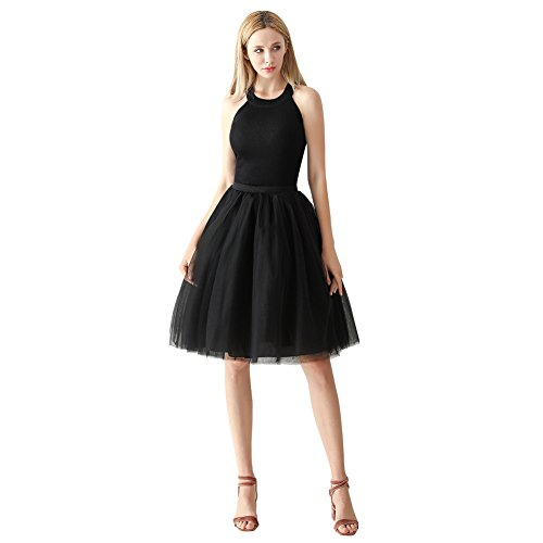 ShowYeu Femmes A-Ligne 60 CM Tutu Tulle Jupon Robe de Fête Mi-Mollet Vintage Demoiselles Party Dress Balle De Bal Noir