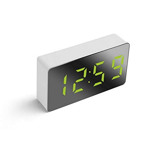 Multifunción LED DIGITAL DUAL Alarma Reloj de alarma Bluetooth con radio FM LED Espejo Música inalámbrica Reproductor de música Snooze Temperatura (Color : 6)