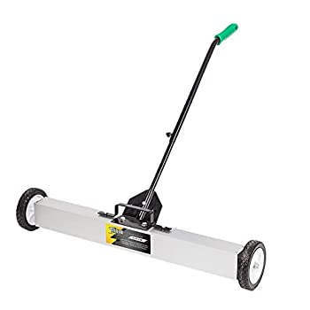 TUFFIOM 36-Inch Rolling Magnetic Pick-Up Sweeper | 30-LBS Capacity with Quick Release Latch & Adjustable Long Handle for Nails Needles Screws Collection
