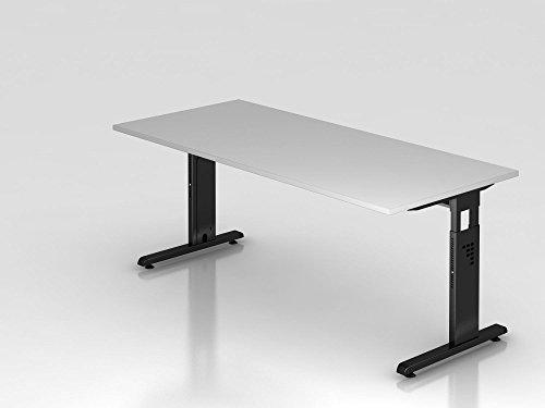 Schreibtisch C-Fuß 180x80cm, Grau/Schwarz