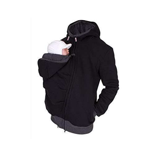 2 In 1 Kangaroo Hooded Dad Men's Sweater with Baby Carrier Pocket Men's Fleece Multi-Function Autumn And Winter Dressing Pouch Men Fleece Sweatshirt Hoodie Jacket Dad And Baby Carrier Coat