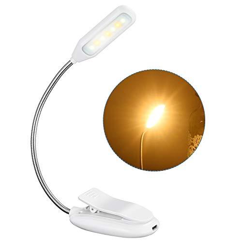 Leselampe Buch Klemme, TOPELEK 7 LED Buchlampe Bett, 3 Farbtemperatur, 3 Helligkeiten, 60H Dauerzeit, Mikro USB, LED Klemmleuchte für Nachtlesung, Reisen, eBook, Weiss