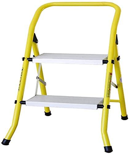 CAJOLG Sgabello da pediera, 2 Step Ladder Platform Leggero Sgabello Pieghevole Leggero Pieghevole 330 Lbs cap Spazio Spazio con Vassoio/Giallo e Bianco / 20.5x18.5x19Inches