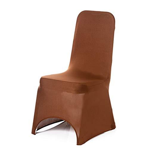Chocolat Housse de chaise en Extensible Spandex pour mariage Banquet fête d'anniversaire événements salle à manger élastique Arcade avant par Trimming Shop, Tissu, chocolat, Lot de 10