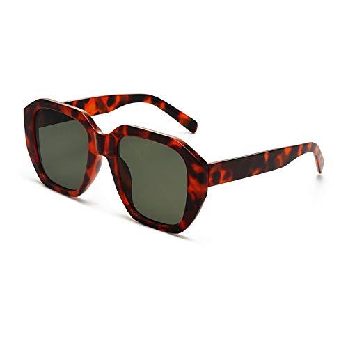 QINGZHOU Gafas de Sol,Gafas de sol cuadradas personalizadas con cuajada de frijol, gafas de sol retro de moda, gafas de fotografía de calle roja neta, película verde oscuro de carey