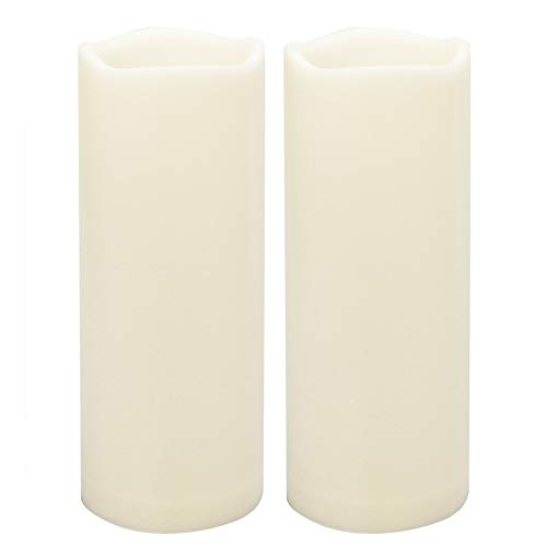 Outdoor Waterproof Flameless LED Pillar Candles with Timer Battery Operated Plastic Large Decorative Electric Candle Lights for Halloween Christmas Wedding Party Centerpiece Decoration 2 Pack 3'x8'