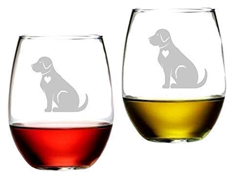 Labrador Retriever Crystal Clear Stemless Wine Glasses Etched Engraved Perfect Fun Handmade Decorated Gifts for Everyone Set of 2, 16 Oz