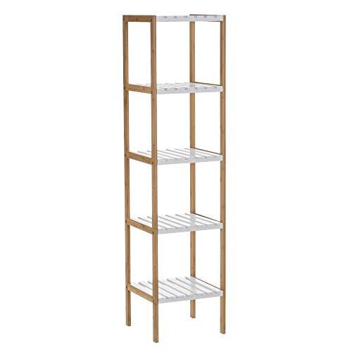 Estantería con 5 baldas de bambú nórdica Blanca de 140x33x34 cm - LOLAhome