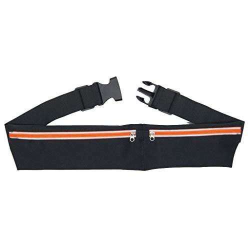 Running Belt Dual Pocket Workout Belt Nylon Sports Waist Waterproof Stylish Fanny Pack Belt Phone Pouch Women Men in Travel Running Walking Cycling Outdoor (Orange)