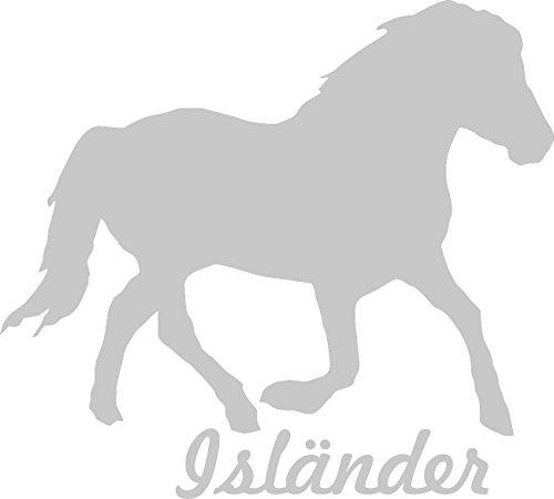 Werbetechnik Sotirios Papoutsis 2X Auto Aufkleber ISLÄNDER Pferd 2X Car Sticker Konturgeschnitten (ca. 11x10 cm) (Silber)