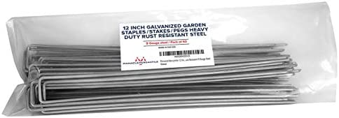 Pinnacle Mercantile 50 Pack 12 Inch Galvanized Garden Stakes Landscape Staples Heavy Duty Rust product image