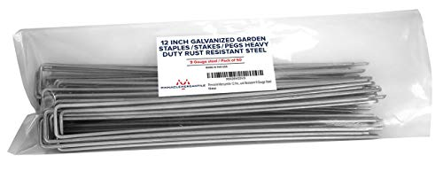 Pinnacle Mercantile 50 Pack 12 Inch Galvanized Garden Stakes- Landscape Staples Heavy Duty Rust Resistant 9 Gauge Steel USA Made Secure Chicken Wire, Fences, Tent, Edging, Netting, Decorations