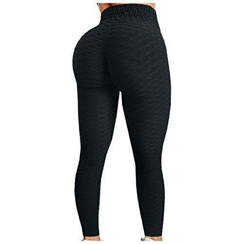OLOPE Women's High Waisted Yoga Pants Bubble Hip Butt Lifting Leggings Workout Tummy Control Yoga Tights (L, Black)