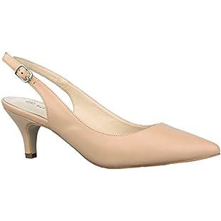 Greatonu Women's Pointed Toe Slingback Dress Court Shoes, Nude - 5 UK
