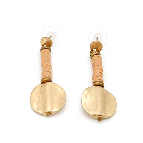 Pendientes Largos Medalla, Original para Mujeres. Pendientes Largos de Metal Dorado, apúntate a la Moda de la bisutería étnica. (Nude Rosa Palo)