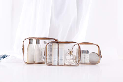Eiflow 3Pcs Clear Waterproof Toiletry Bag, PVC Zippered Carry on Cosmetic Bag Pouch Travel Wash Bag Accessories Makeup Organizer Bag Set for Women Men Vacation Bathroom(Brown)