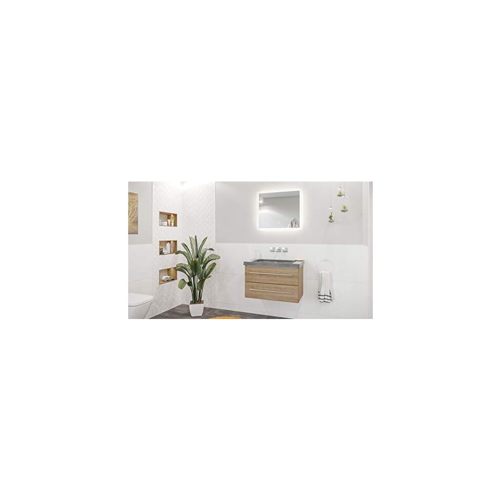 emotion Damo décor chêne avec Vasque Granit G654, 75cm sans pré-perçage & Miroir à LED