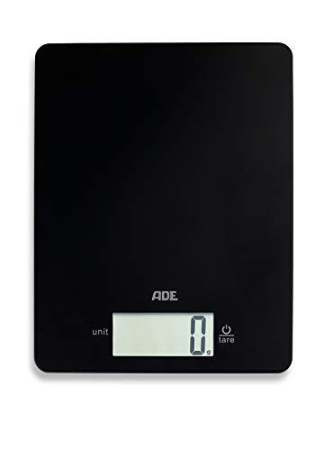 ADE Digitale Küchenwaage KE 1800-4 Leonie (Elektronische Waage für Küche und Haushalt, extrem flach, präzises Wiegen bis 5 kg, Zuwiegefunktion) schwarz