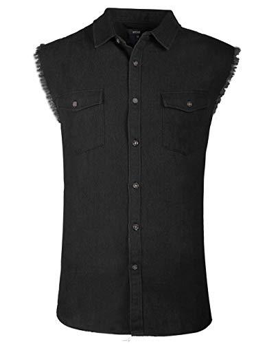 NUTEXROL Men's Sleeveless Denim Shirt Biker Vest 2 Front Pockets Black S