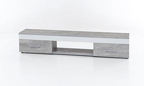 WILMES Lowboard mit 2 Schubladen, Spanplatte, Melamin Dekor Beton/weiß, 160 x 33 x 31 cm