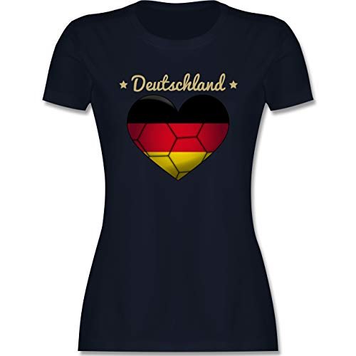 Handball - Handballherz Deutschland - XL - Navy Blau - Deutschland - L191 - Tailliertes Tshirt für Damen und Frauen T-Shirt