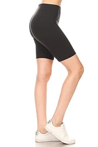 Leggings Depot LBKX128-BLACK-1X High Waist Solid Biker Shorts, 1X Plus