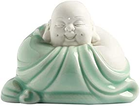 Chinese Feng Shui Decor Buddha Statues Small Ceramic Laughing Good Luck Congratulatory Attract Wealth Gifts for Home and O...