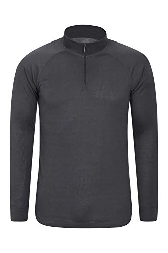 Mountain Warehouse Talus Mens Thermal Baselayer Top - Quick Drying Winter Jumper, Easy Care, Long Sleeves, Sweater, Breathable, Lightweight & High Wicking Dark Grey XL