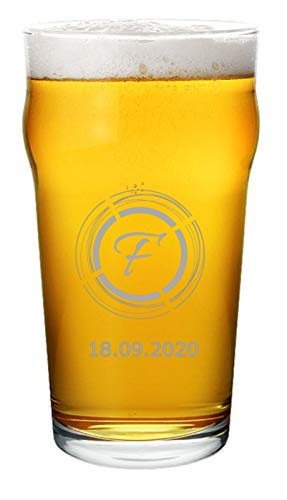 Bicchiere da Birra Personalizzato - Pinta da Birra Inciso Personalizzabile con Nome, Iniziale, Testo, Design e Caratteri Diversi (1)