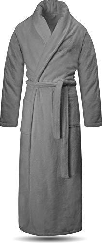 normani Extra Langer Bademantel aus 100% Baumwolle für Damen und Herren - Öko Tex 100 Farbe Grau Größe S