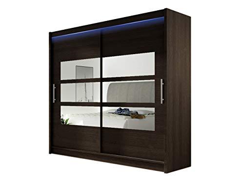 Kleiderschrank mit Spiegel London III, Schwebetürenschrank, Schiebetürenschrank, Modernes Schlafzimmerschrank 180x215x57cm, Garderobe, Schlafzimmer (Choco, mit RGB LED Beleuchtung)